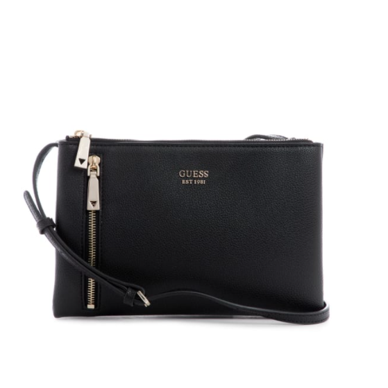 Guess Naya Double Zip Crossbody Purse - Black