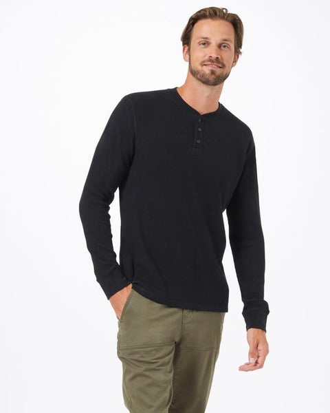 Ten Tree Men's Treewaffle Henley - Black