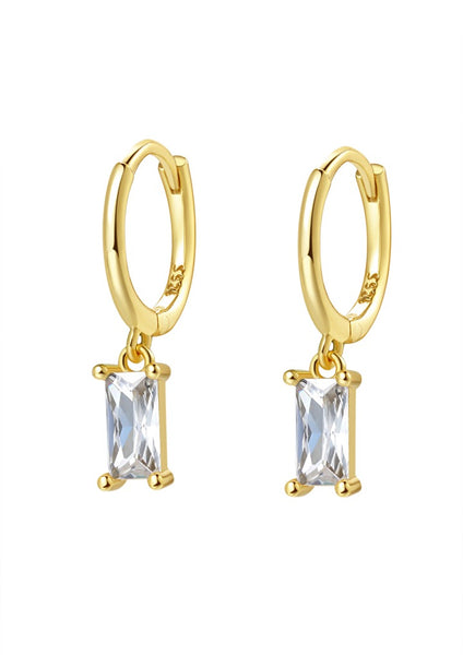 Happiness Boutique Baguette Gemstone Huggie Earrings Sterling Silver - Gold