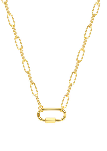 Happiness Boutique Chunky Chain Oval Screw Lock Necklace - Gold