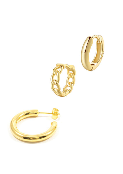 Happiness Boutique Hoop Earrings Set Ear Stack - Gold