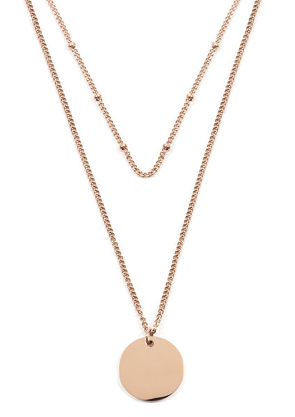 Happiness Boutique Layered Necklace - Rose Gold