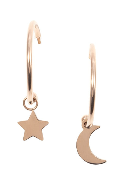 Happiness Boutique Moon Star Earrings - Rose Gold