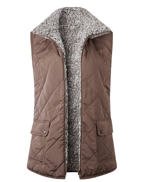 Quilted Tan Vest with Sherpa Lining