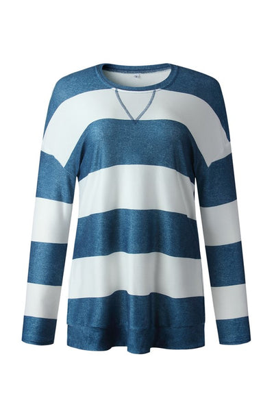 Blue Stripe Pullover Top