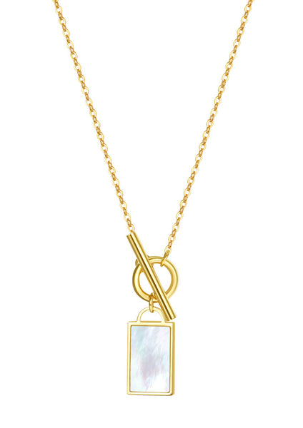 Happiness Boutique Shell Rectangle Pendant T-Bar Chain Necklace - Gold