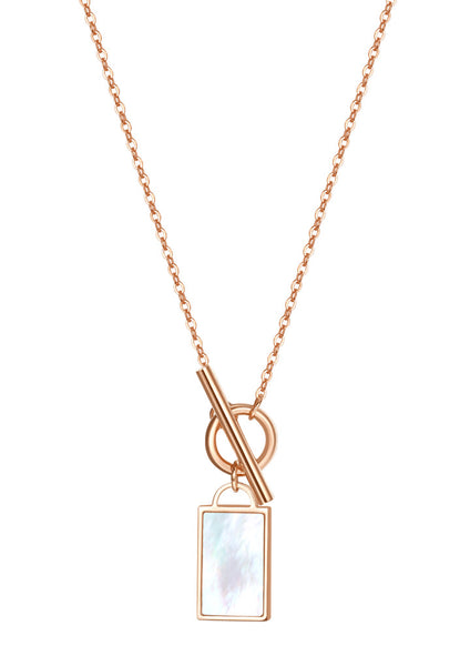 Happiness Boutique Shell Rectangle Pendant T-Bar Chain Necklace - Rose Gold
