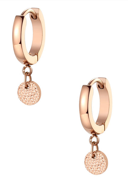 Happiness Boutique Textured Circle Hoop Earrings - Rose Gold
