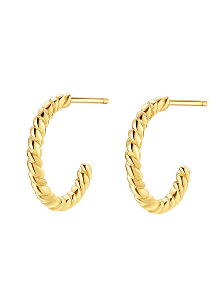 Happiness Boutique Twisted Hoop Earrings Sterling Silver - Gold