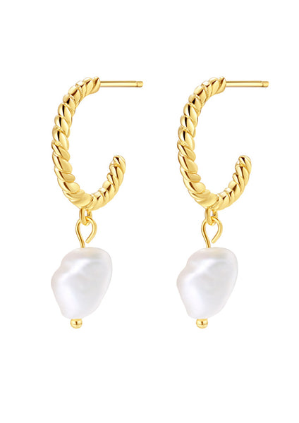 Happiness Boutique Twisted Hoop Pearl Drop Earrings Sterling Silver - Gold