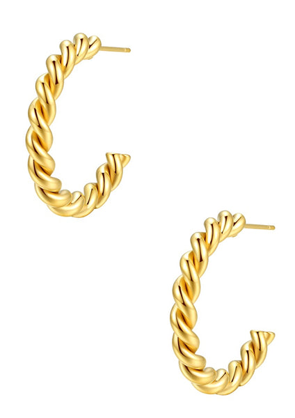 Happiness Boutique Twisted Hoop Earrings - Gold