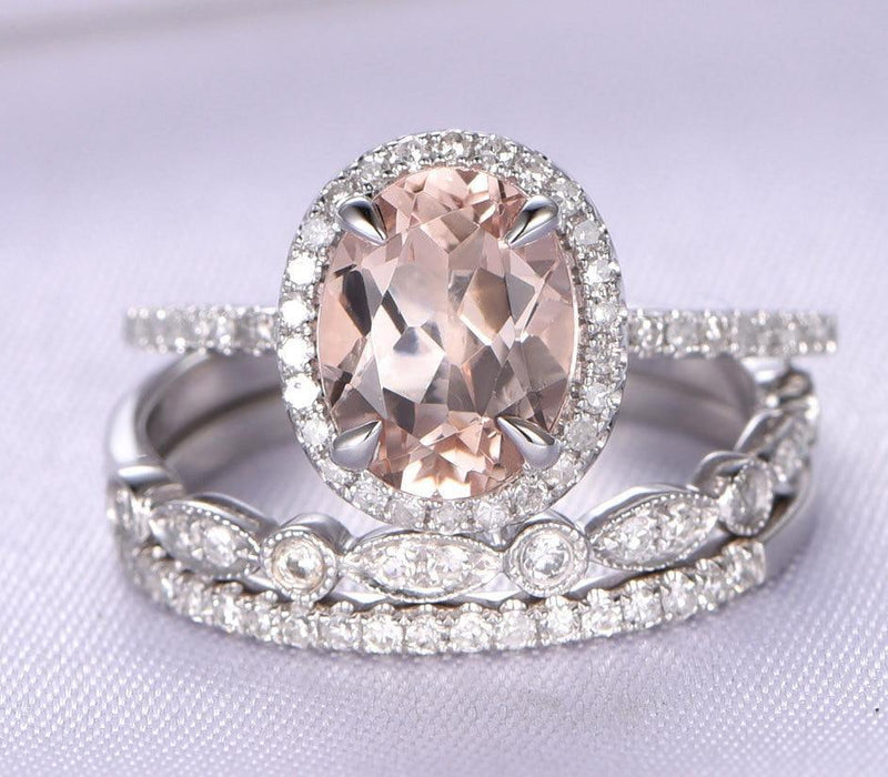 297316084d3a2d Huge 2.50 Carat oval cut Morganite and Diamond art deco Trio Wedding Ring  Set in White