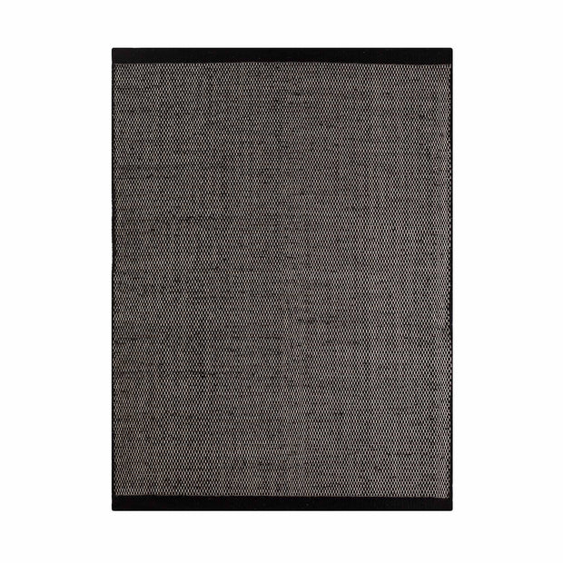 Kolong rug, black & off-white, 100% new wool | URBANARA wool rugs