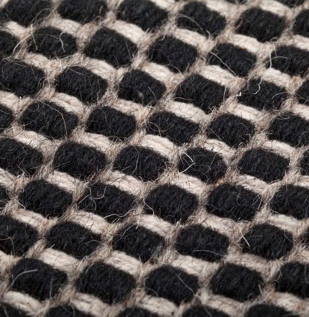 Kolong rug, black & off-white, 100% new wool |High quality homewares