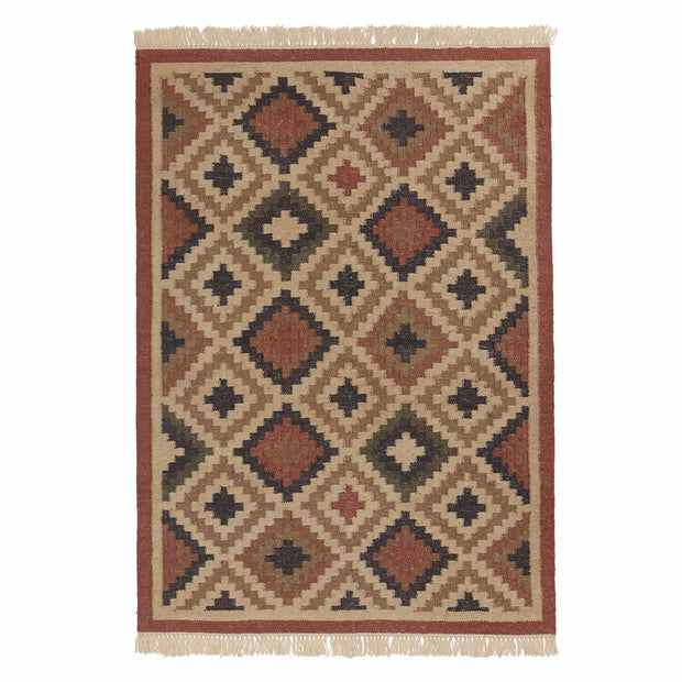 Nohar Rug rust orange & sand & olive green, 80% jute & 20% wool | URBANARA jute rugs