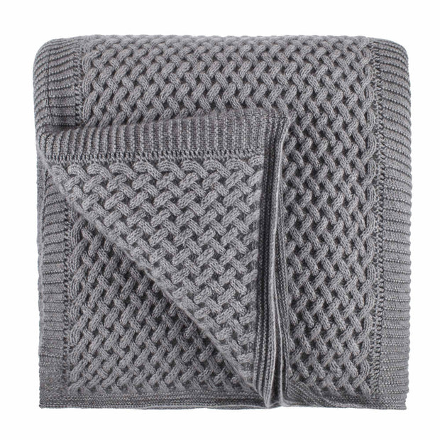 Pumori blanket, light grey & grey, 100% cashmere wool