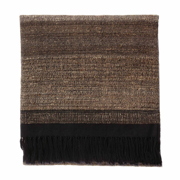 Orchha blanket, black & natural, 60% wool & 40% silk
