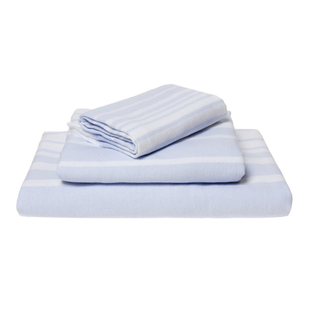 Louro hand towel, white & light blue, 100% cotton