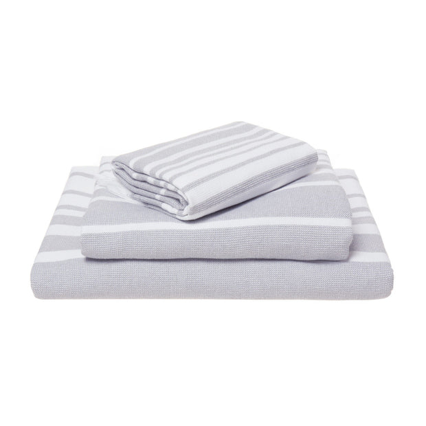 Louro hand towel, white & grey, 100% cotton