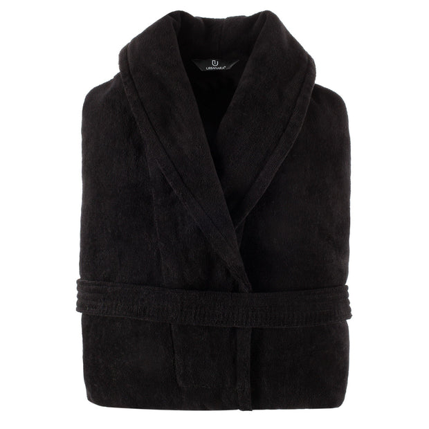 Samora bathrobe, black, 100% cotton