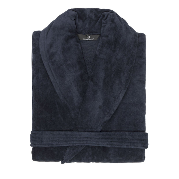 Samora bathrobe, dark blue, 100% cotton