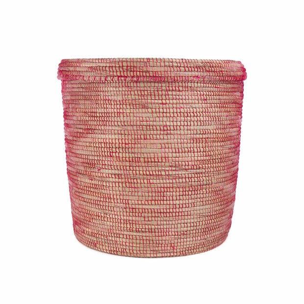 Kaedi laundry basket, natural & red & pink, 80% straw & 20% wool | URBANARA laundry baskets