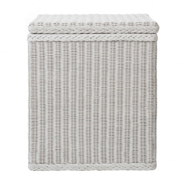 Java laundry basket, painted white, 100% rattan & 100% cotton