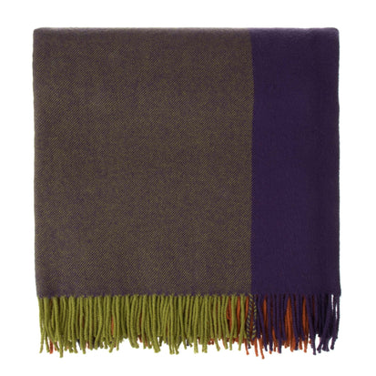 Caracas blanket, dark purple & orange, 100% merino wool
