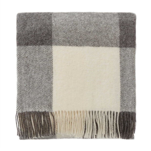 Saskatoon blanket, charcoal & light grey & cream, 100% wool