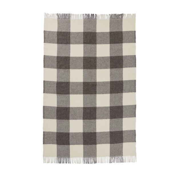 Saskatoon blanket, charcoal & light grey & cream, 100% wool | URBANARA wool blankets