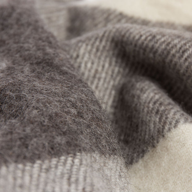 Saskatoon blanket, charcoal & light grey & cream, 100% wool |High quality homewares