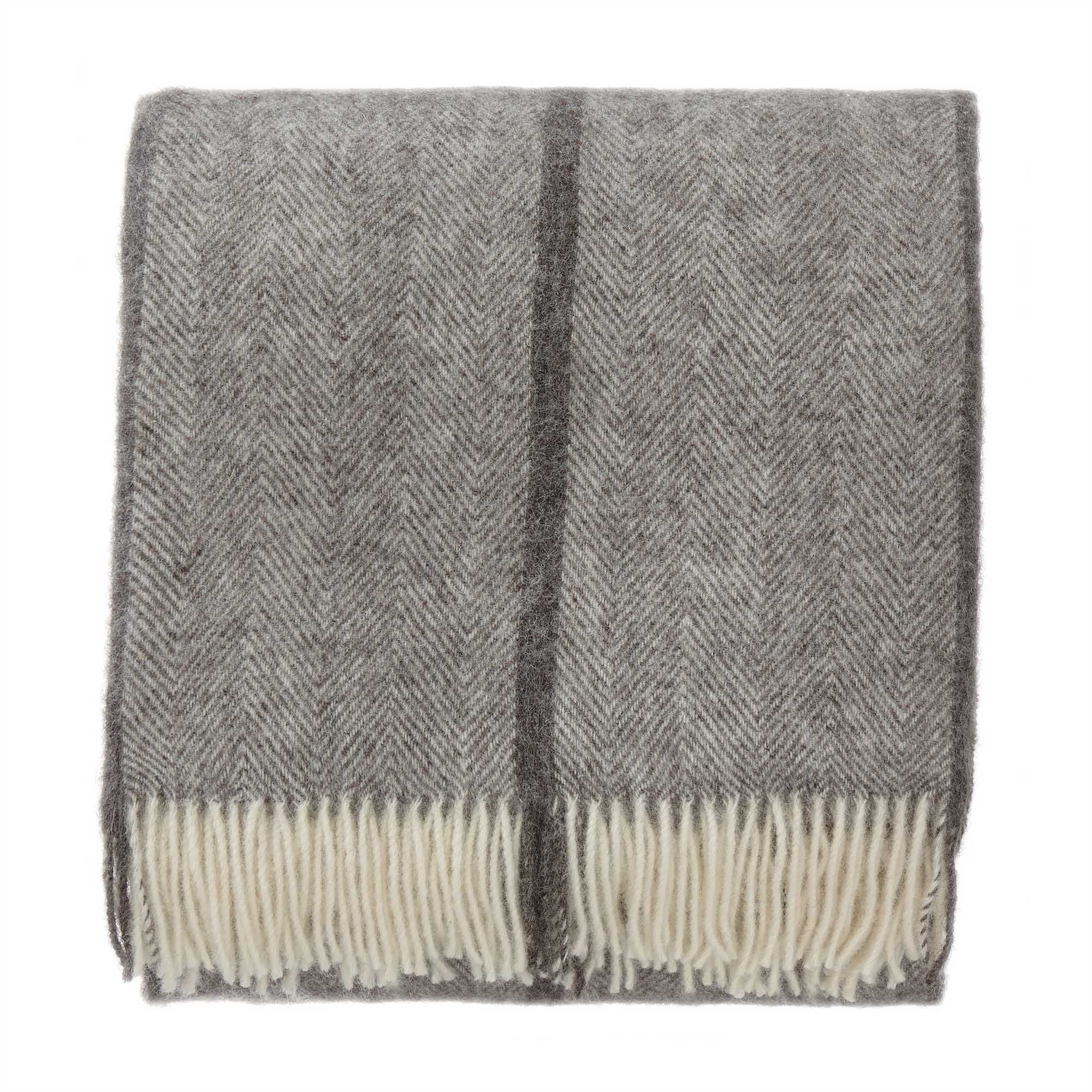 Saskatoon blanket, charcoal & grey & cream, 100% wool