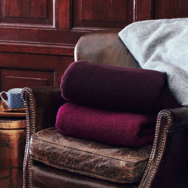 Miramar blanket in raspberry, 100% lambswool |Find the perfect wool blankets