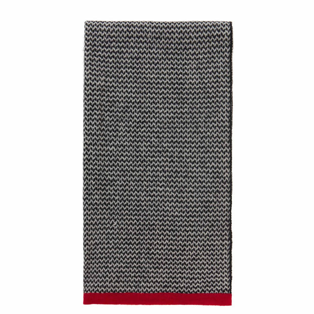 Foligno scarf, black & cream & red, 100% cashmere wool | URBANARA hats & scarves