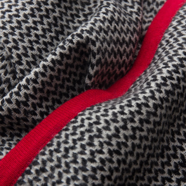Foligno scarf, black & cream & red, 100% cashmere wool |High quality homewares
