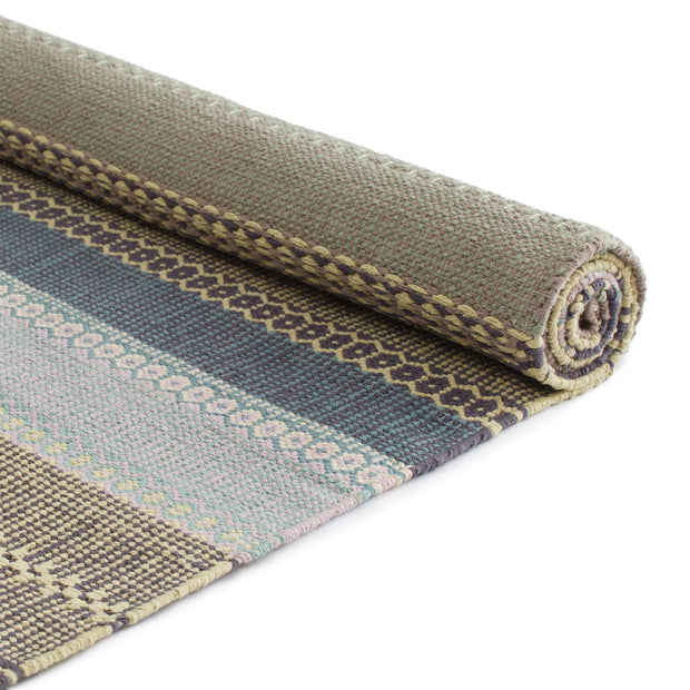 Aonla Rug light green & light yellow & grey, 100% cotton | URBANARA cotton rugs