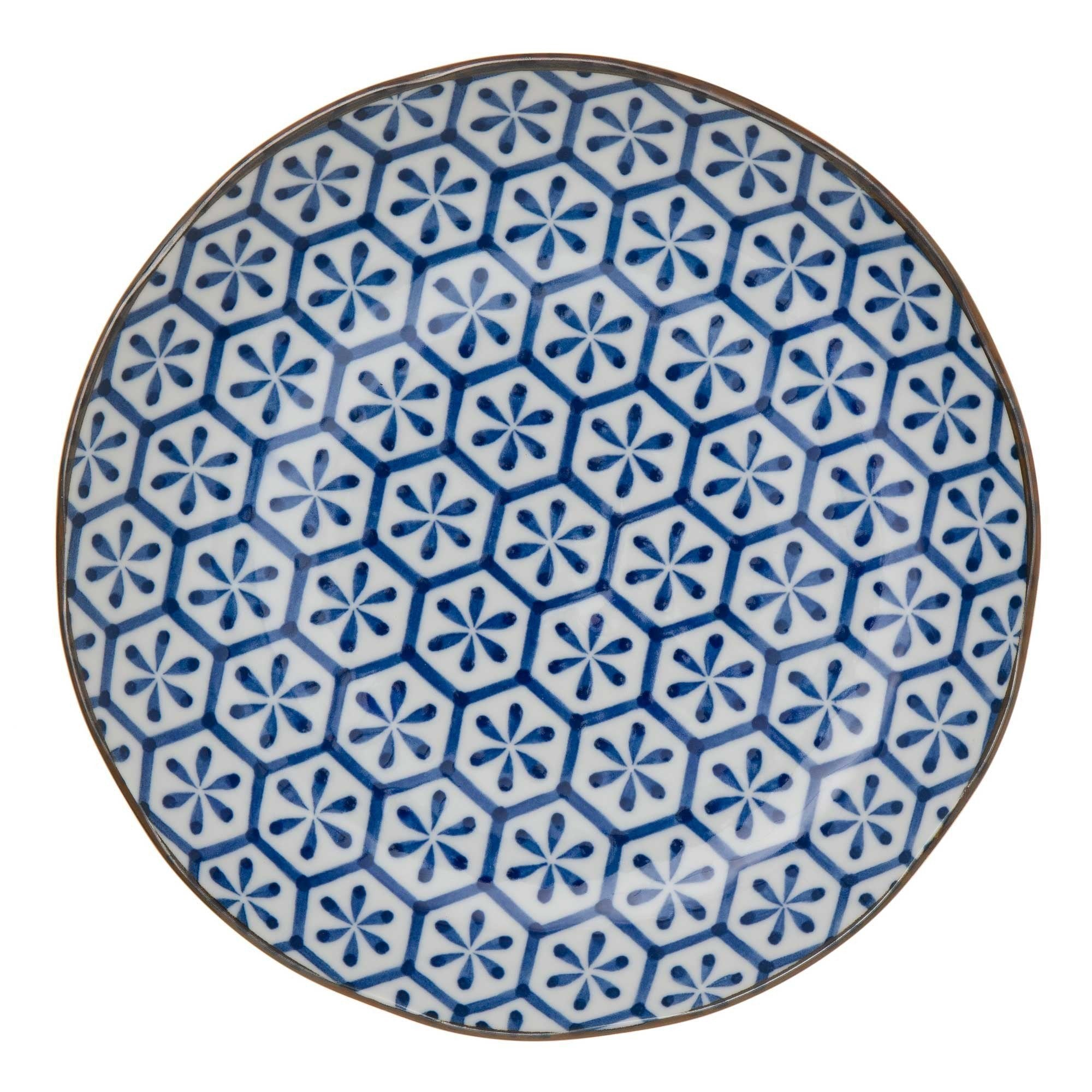 Onuma plate, white & dark blue, 100% ceramic