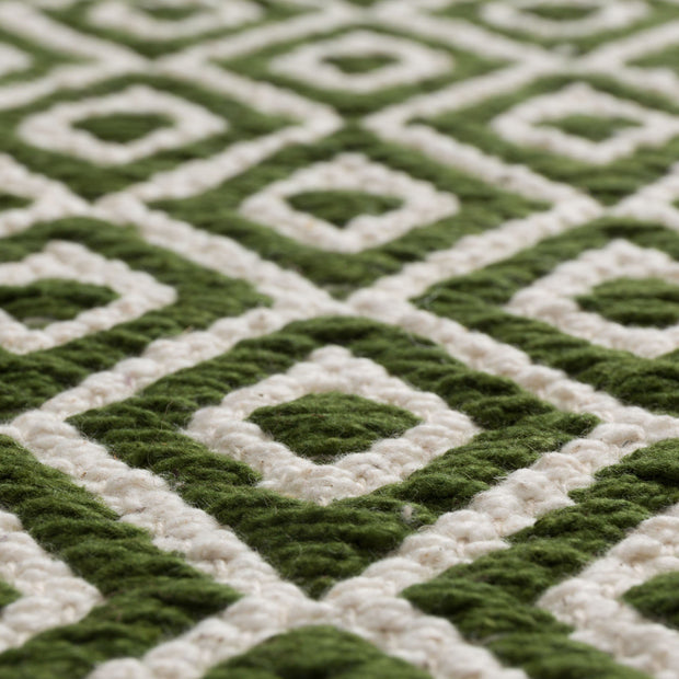 Tenali rug, olive green & off-white, 100% cotton |High quality homewares