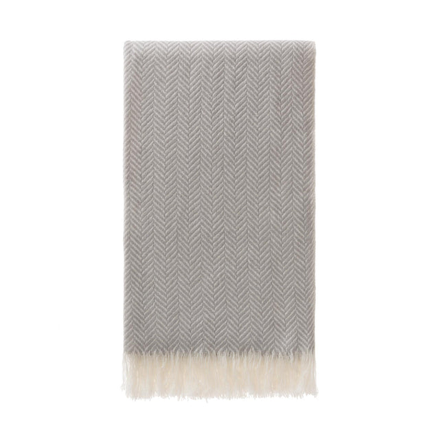 Nerva scarf in light grey & cream, 100% cashmere wool |Find the perfect hats & scarves