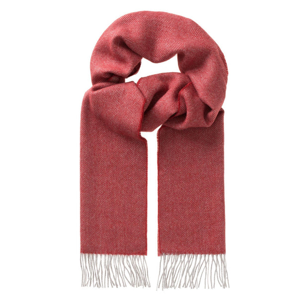 Anra scarf, red & grey, 100% baby alpaca wool