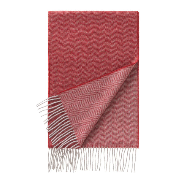 Anra scarf, red & grey, 100% baby alpaca wool |High quality homewares
