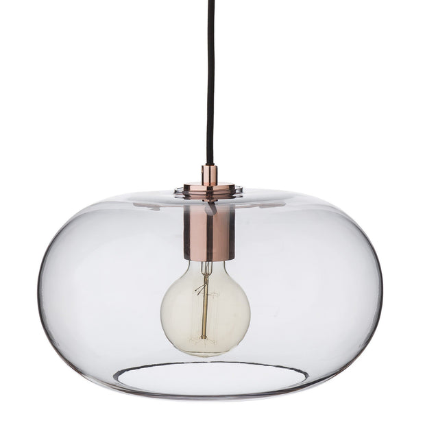 Louns pendant lamp, grey & copper, 100% glass & 100% stainless steel