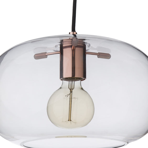 Louns pendant lamp, grey & copper, 100% glass & 100% stainless steel | URBANARA pendant lamps