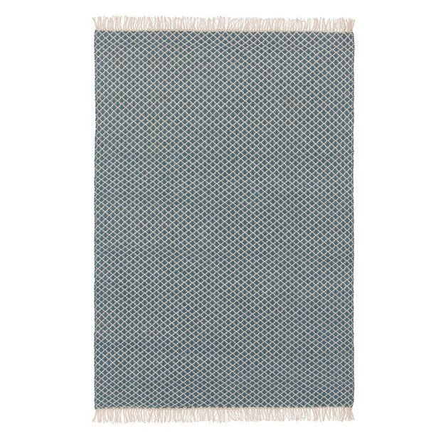 Loni rug, blue & off-white, 100% wool | URBANARA wool rugs