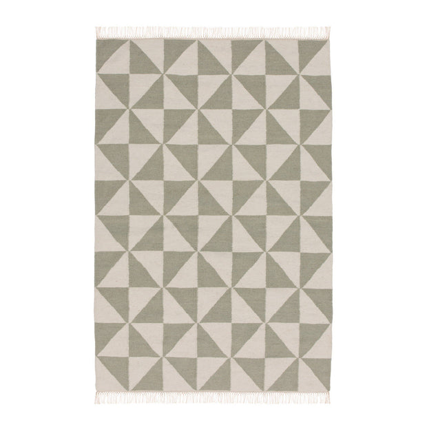 Almi rug, mint & off-white, 50% wool & 50% cotton | URBANARA wool rugs