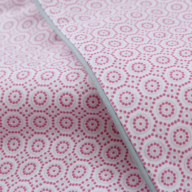 Cheles pillowcase, white & raspberry & green grey, 100% cotton |High quality homewares