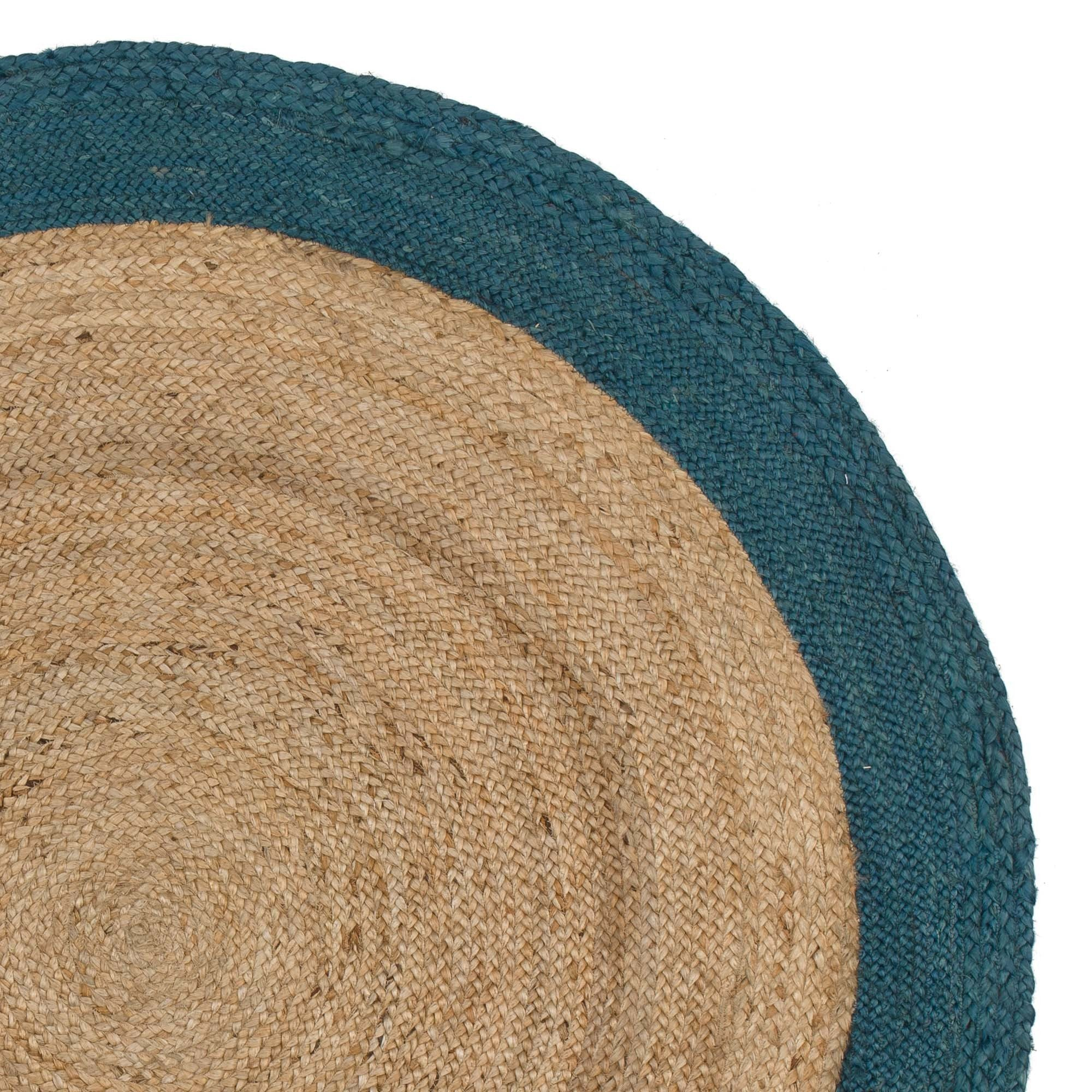 Nandi rug, natural & teal, 100% jute