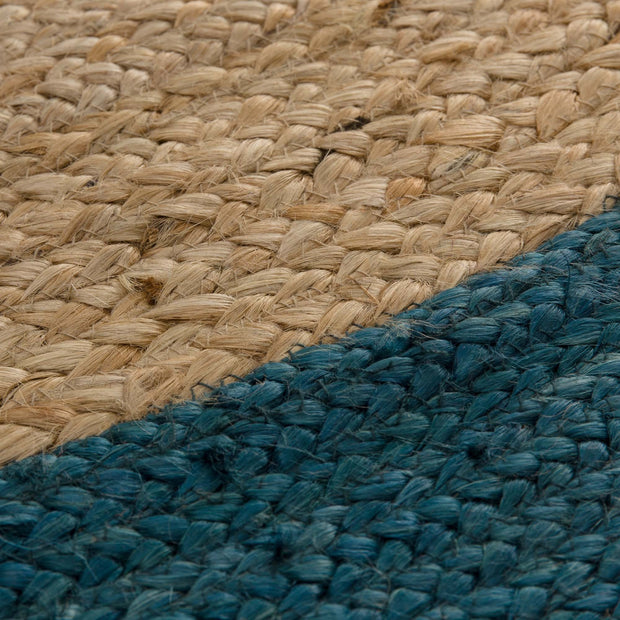 Nandi rug, natural & teal, 100% jute |High quality homewares