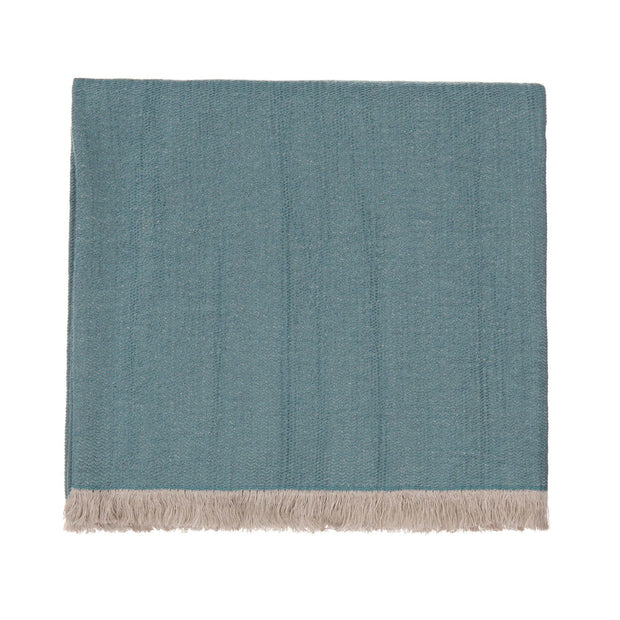 Alkas blanket, grey green & stone grey, 50% linen & 50% cotton