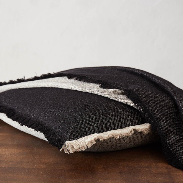 Alkas blanket, black & stone grey, 50% linen & 50% cotton |High quality homewares